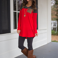 If I Could Tunic, Red/Gray