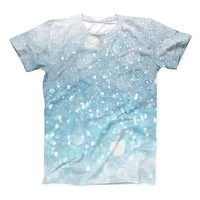 The Unfocused Abstract Blue Rain ink-Fuzed Unisex All Over Full-Printed Fitted Tee Shirt