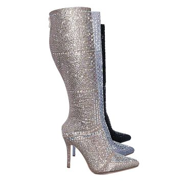 Event99 Rhinestone Crystal Metallic Glitter Boots - Women Knee High Stilettos
