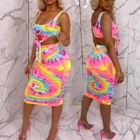 Printed sexy tie-dye casual vest skirt suit