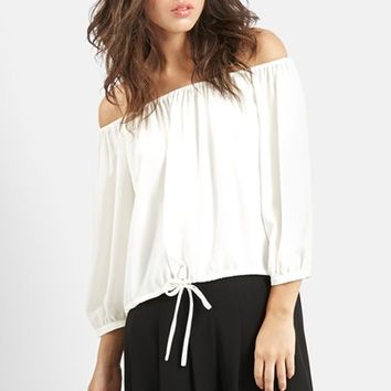 Women's KENDALL + KYLIE at Topshop Off the Shoulder Blouson Top,