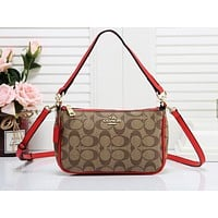 Samplefine2 Coach fashion casual lady shopping bag hot seller with printed patchwork color shoulder bag #1