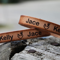 "Custom Engraved Genuine Leather 1/2"" Cuff Bracelet SET of TWO Bracelets to exchange includes two names and country love deer heart"