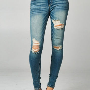 Cello 5 pocket distressed mid rise skinny jeans