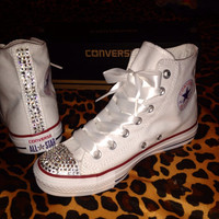 Women's High Top Rhinestone Converse with Ribbon Shoelaces