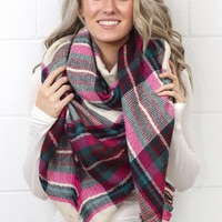 Cozy Plaid Blanket Scarf {Pink Mix}