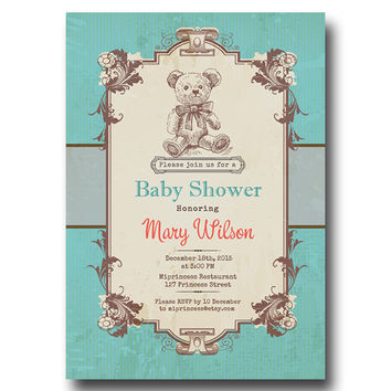 Vintage Bear Baby Shower Invitation