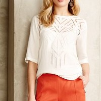 Cutwork Ivory Petite Tee by Cynthia Vincent White