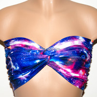 Galaxy Printed Twisted Bandeau, Galaxy Universe Swimwear Bikini Top, Spandex Bandeau Bikini in Purple, Blue, Pink & White