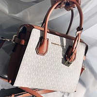 Michael kors MK New fashion more letter print leather shopping leisure shoulder bag handbag crossbody bag White