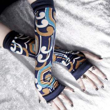Among the Kells Arm Warmers - Navy Blue Mustard Ochre Tan Off White Black Turquoise - Yoga Gothic Dark Tribal Goth Cycling Meditation