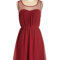 ModCloth Mid-length Sleeveless A-line Exquisite on the Equinox Dress in Ruby