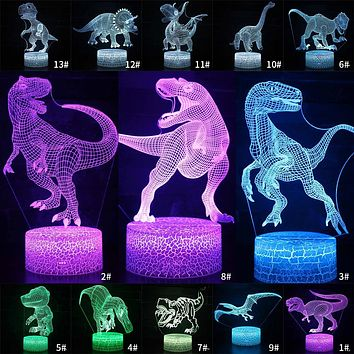 7/16 Color Change Night Light Remote & Touch Control 3D LED Night Light Dinosaur Lamp 3D Christmas Kids Gift LED Table Lamp D30