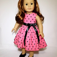 """American Girl Clothes and 18""""Doll Pink Polka Dots Dress and Ribbon Belt with Bow"""