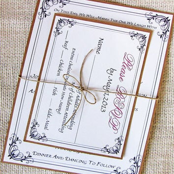 Rustic Twine Wedding Invitation Suite , Deposit Listing
