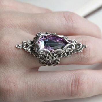 Lady Nebula Aged Silver and Swarovski Ring- Purple - Pink - Silver - Victorian - Fantasy - Water - Winter - Spring