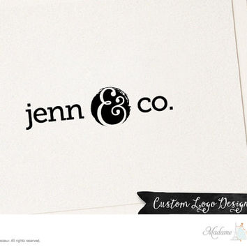 Premade logo design ampersand logo text logo vintage logo website logo blog logo boutique logo vintage logo text only logo design retro logo