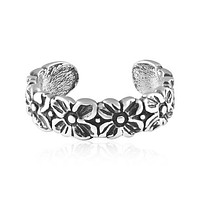 Retro Flower Adjustable Sterling Silver Toe Ring
