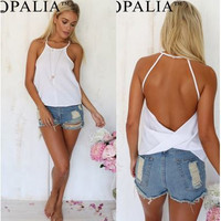 Casual, Simple, Chiffon Sleeveless Summer Shirt with Open Back