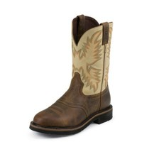 Justin® Men's Stampede Sawdust Leather Upper with Waxy Brown Vamp Boot, 11 in.
