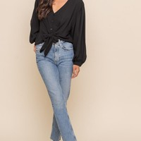 Front Toe Button-Down Blouse