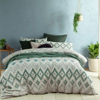 Tribal Green Jacquard Quilt Cover Set by Accessorize