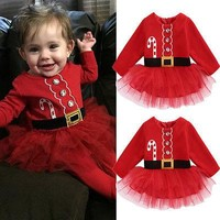 Cute Christmas Princess Toddler Baby Girl Long Sleeve Tulle Tutu Dress Party Outfits Costume