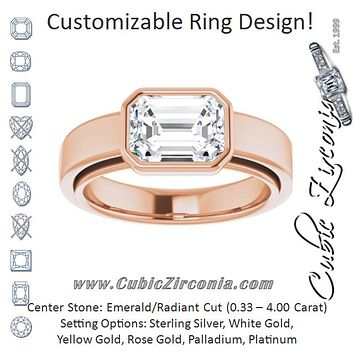 Cubic Zirconia Engagement Ring- The Dunyasha (Customizable Cathedral-Bezel Radiant Cut Solitaire with Wide Band)