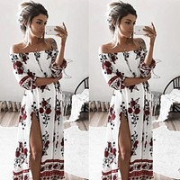 Women Clothing Dress Chiffon Floral Long Sleeve Party Flower Casual Long Maxi Dresses  Summer Sundress