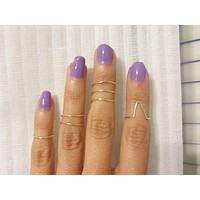 Gold Plated Midi Rings, Non tarnishing Above the knuckle jewelry - Set of 4