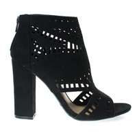 Encounter22S Black Suede Laser Chop Out Ankle booties Sandal, Chunky Block Heel, Women's Shoes