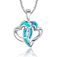 Sterling Silver Linked Hearts in Love W. Blue Green Fire Opal Pendant Necklace
