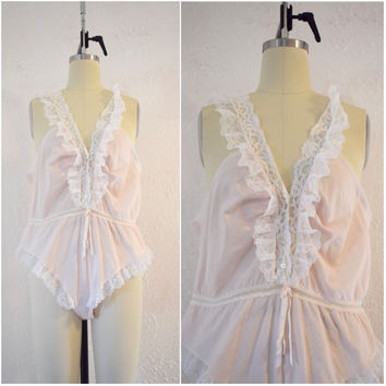 Vintage 1970s Pink Christian Dior Lace Teddy