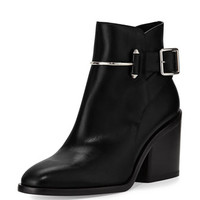 Balenciaga Smooth Leather Block-Heel Bootie
