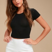 Groove Queen White Striped Skort