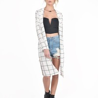 Lengthy Checkered Cardigan