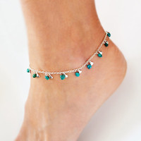 Anklet Silver Ankle Bracelet Turquoise Jewelry Silver Charms Boho Anklet Bohemian Jewelry Hipster Beach Summer Accessories Bocade Jewelry