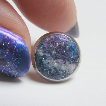 Galaxy Earrings,Secret Message Earrings, Personalized Jewelry, Initials Earrings, Star Sign Earrings, Message Jewelry Outer Space Birth Sign