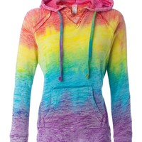 MV Sport Women's Courtney Burnout Hooded Pullover Blend Fleece