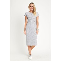 RD Style White/Navy Short Sleeve Knot Front Maxi Dress