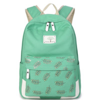 Green Leaves Printed Backpack Canvas Travel Bag