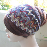 Turban Head Wrap, Hair Turband, Chevron Headband, Zig Zag Stretch Knit, Gifts for Her, Fall And Winter Head Wear