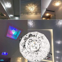 3W 5W LED Modern Embeded Crystal Ceiling Light Fixture Lamp Lighting Stainless Steel+ Crystal House Decoration