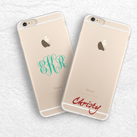 iPhone 6 5s, iPhone 6s plus transparent soft rubber case, ultra slim clear monogram name case, personalized custom name case for Samsung S6