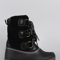 Bamboo Lace Up Round Toe Duck Ankle Boots