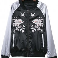 Fashionable Bird Floral Embroidered Detail Jacket