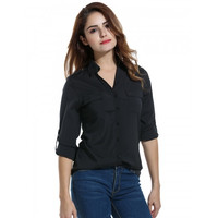 Women Casual V Neck Long Sleeve Stylish Button Down Shirt