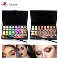 Portable Matte Eye Makeup Eyeshadow Pallete Glitter Powder Eye Shadow Earth Shadow Brush Set