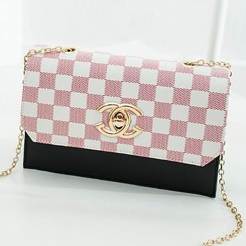 New fashion tartan leather chain shoulder Bag crossbody bag