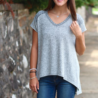 Knit Hacci V-neck Basic {Charcoal}